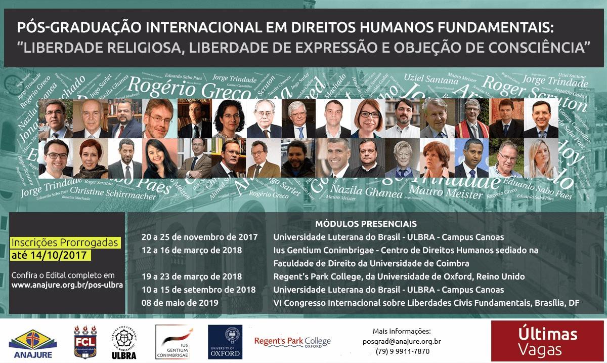 Pós-Graduação em Direitos Humanos Fundamentais: Liberdade Religiosa, Liberdade de Expressão e Objeção de Consciência 2017-2019
